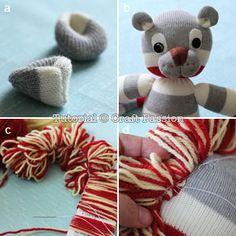 sew sock lion ears and mane