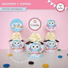 Búhos nena: wrappers y toppers