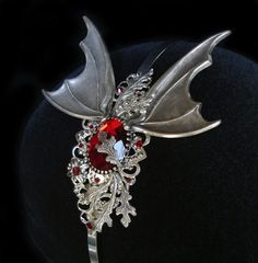 Vampire Headband Bat Dragon Wings Halloween Dracula Vampirella Hair Headdress Red Ruby Garnet Night Blood Goddess Gothic Goth Jewelry Witch