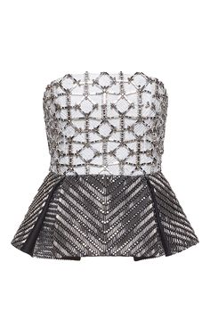 Bicolor Corset with Mikado Embroidered Peplum by ZUHAIR MURAD for Preorder on Moda Operandi