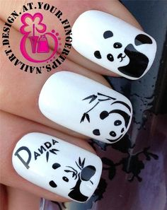 NAIL ART WRAPS WATER TRANSFERS/STICKERS DECALS PANDA BEARS & BAMBOO #176