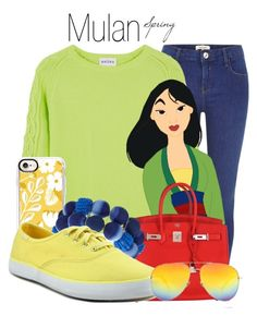 """Mulan~ DisneyBound"" by basic-disney ❤ liked on Polyvore featuring River Island, Hermès, Casetify, Keds and Yves Saint Laurent"