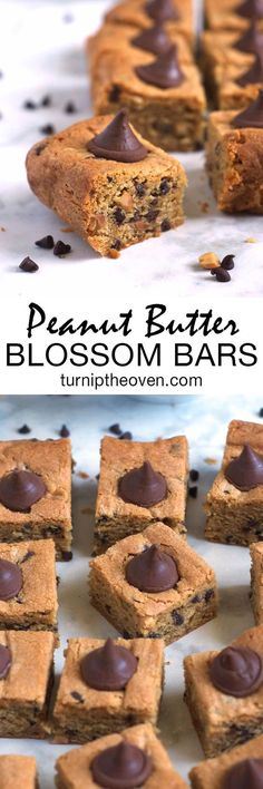 These easy, one-bowl peanut butter bars are loaded with chopped peanuts and mini chocolate chips, and topped with Hershey's Kisses. They make the perfect dessert or snack…for kids and adults!