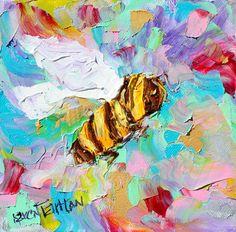 Bee Zen Original oil painting 6x6 palette knife by Karensfineart