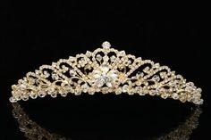 Bridal Wedding Princess Rhinestones Crystal Flower Tiara Crown - Gold Plating Venus Jewelry http://www.amazon.com/dp/B008E0AEL8/ref=cm_sw_r_pi_dp_dZl.tb04HCXPR