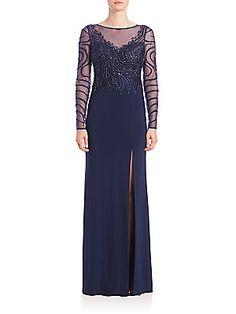 b2bebad827 Basix Black Label Embellished Illusion High-Slit Gown Elegant Gowns