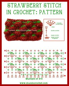Crochet strawberry stitch -AS A SUMMER CLUTCH