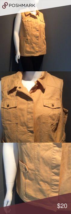 A Little Mustard! Light mustard colored denim utility vest.NWT Hidden snap closure. Elastic at back waist. cj banks Jackets & Coats Vests
