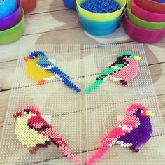 Hama perler birds by troeffel by paige Hama Beads Design, Diy Perler Beads, Perler Bead Art, Pearler Beads, Hama Mini, Fusion Beads, Pearler Bead Patterns, Perler Patterns, Iron Beads