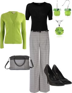 Great work outfit and accessories. Like the pop of color although I'm not sure about the lime color Mode Outfits, Casual Outfits, Fashion Outfits, Womens Fashion, Mode Collage, Proper Attire, Look Office, Mode Plus, Business Outfits