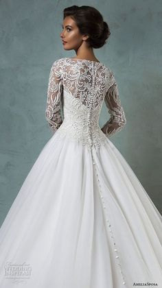 amelia sposa 2016 wedding dresses boat neckline lace long sleeves embroideried bodice beautiful a line ball gown wedding dress leticia back close up