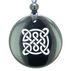 Life Protection Celtic Shield Knot Amulet Black Agate Magic Pendant Necklace