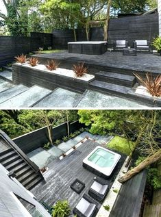 13 Multi-Level Backyards To Get You Inspired For A Summer Backyard Makeover! // This backyard has created multiple levels through the use of black wood to make steps, planters, and an elevated deck wi (Patio Step Hot Tubs)