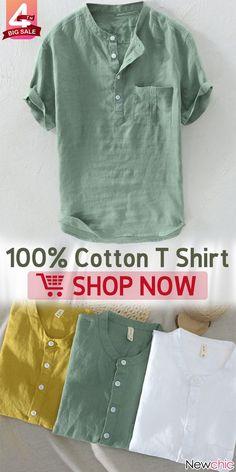 【Big Sale】Mens Cotton Breathable Vintage Chinese Style Solid Color Loose Casual Buttons T Shirts Cotton Shirts For Men, Loose Shirts, Men Shirts, Mens Tees, Chinese Collar Shirt, Mandarin Collar Shirt, Estilo Tomboy, T Shirt Vest, Shirt Men