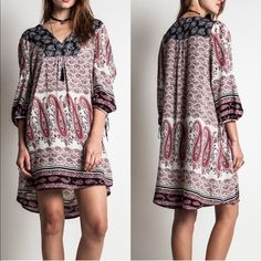 APHRODITE paisley tunic dress - CORAL mix So loving this pattern! Super soft & feminine. Very boho chic. NO TRADE, PRICE FIRM allow for some color variation Dresses