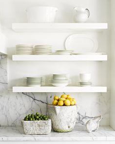 // marble + open shelves