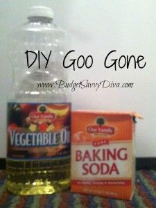 DIY Goo Gone - 1 part oil to 2 parts baking soda