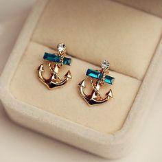 Neo Hải Quân Đá Quý Pha Lê Stud Earrings Phụ Nữ Dễ Thương Bông Tai Thời Trang Đồ Trang Sức Cô Dâu Ấn Độ Bohemian tai