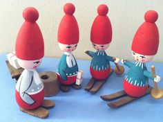 Vintage MCM Swedish Wooden Doll Skis Gnome Tomte by drcarrot, $34.00