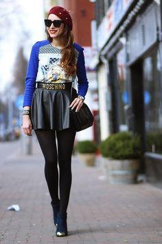 Shop this look on Kaleidoscope (skirt, shirt, hat, bootie)  http://kalei.do/WlcWup8qflvaybnR