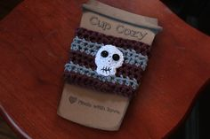 Shop for skull on Etsy, the place to express your creativity through the buying and selling of handmade and vintage goods. S Cup, Cup Cozies, Curling, Shawls And Wraps, Barista, Drinking Tea, Skull, Handle, Cozy