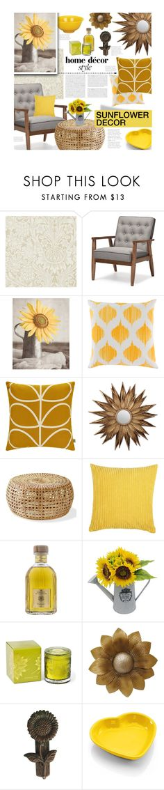 """""""Sunflower Decor"""" by ellergy ❤ liked on Polyvore featuring interior, interiors, interior design, home, home decor, interior decorating, William Morris, Baxton Studio, Surya and Orla Kiely"""