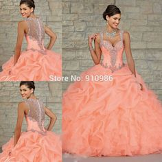 Quinceanera Dresses Neon Coral images