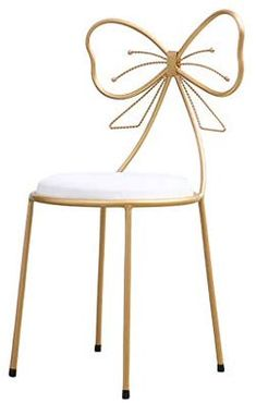 Flowing Water Simple Modern Style Iron Stool Bow with Backrest Height Bar Chair Stool Coffee Shop Make Up Leisure Chair,Gold Diy Furniture Projects, Metal Furniture, Home Decor Furniture, Unique Furniture, Furniture Design, Cool Bar Stools, Leather Bar Stools, Mid Century Dining, Home And Deco