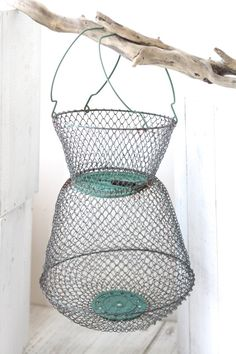 French vintage iron wire basket for fishing. For French decor. Wire basket 1950. on Etsy, $52.06