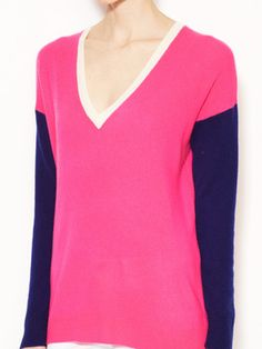 Gilt Groupe - Cashmere Color-blocked V-neck Sweater by Elorie