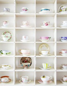 I'm hopelessly devoted to tea cups and coffee mugs. One day, I'll have my tea cup collection displayed just so, near my coffee station Tea Cup Display, Colorful Roses, Floating, My Cup Of Tea, Displaying Collections, Vintage China, Vintage Teacups, Tea Time, Tea Party