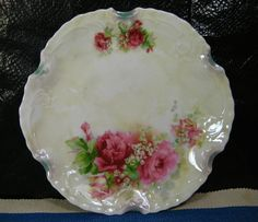 """Silesien Germany, Vintage Plate with Roses, 7 7/8"""" across, Good Condition 