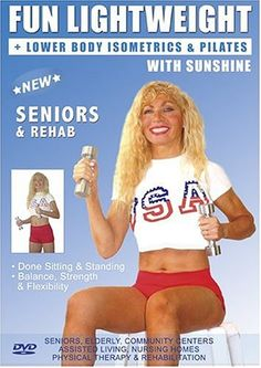 Senior Easy Light Weights Exercise DVD: Seniors / Elderly Easy Dumbbells Sitting and Standing Exercises for Strength and Balance . Easy Light Weights DVD good for Rehab  Physical Therapy. This Seniors Light Weights Fitness DVD is Good also for Easy Osteoporosis Exercises, Diabetes Exercises, Arthritis Exercises, Alzheimer's Exercises DVD. Sunshine is a Certified AARP Trainer by ACE, The American Council on Exercise.
