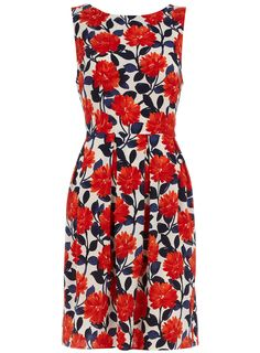 Ivory/red floral dress