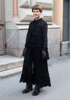 """Anna, 38  """"My favourite look for the day and night: the dress and the shirt Laitinen, the jeans Acne, the shoes Ann Demeulemeester."""""""
