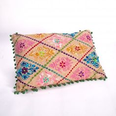 Embroidered Cushions - Jute - from Boutique Camping UK