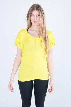 Zobha's Irena Mesh Back T in Yellow #activewear #yellow #tshirt #fashion