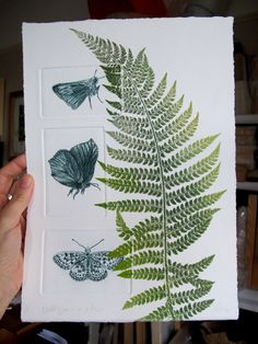 Butterflies and fern. Drypoint and mono print. OOAK on Etsy, $129.18 AUD