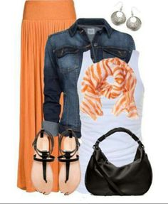 orange maxi skirt and matching scarf