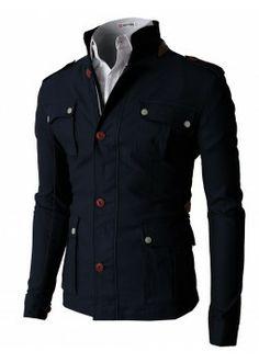 Doublju Men's Field Hoodie Jacket With Two Tone Long Sleeves