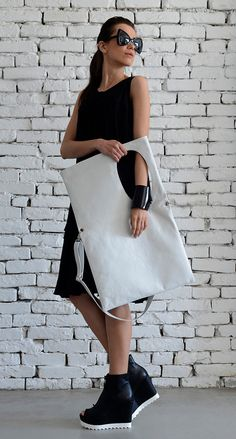 OFF Large White Leather Bag/Rectangle Shape Tote/Extravagant Maxi Bag/White Handbag/Oversize White Shoulder Bag/Adjustable Strap Bag/Max White Tote Bag, White Handbag, White Leather, Leather Bag, V Neck Black Dress, African Accessories, White Shoulders, White Shoulder Bags, Plus Size Maxi