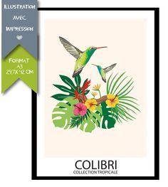 #Affiche Collection #Tropicale - #Oiseau #colibri : Décorations murales par affiche-rgb4you