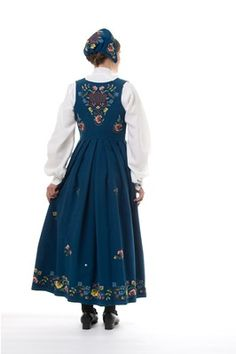 """Blue """"Gudbrandsdalen festbunad"""" from Gudbrandsdalen, Oppland, Norway Norway Clothes, Silver Accessories, Historical Clothing, Most Beautiful, How To Wear, Embroidery Ideas, Ol, Scandinavian, Dresses"""