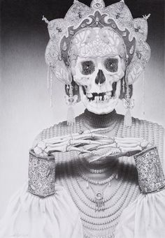 """Empress of Death"", pencil on paper, 57.5 x 40 centimeters  - Laurie Lipton"