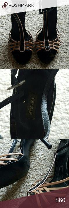 Tufi Duek Black and Tan Stiletto Sandals Size 7 Leather Tufi Duek Black and Tan Strappy Stilleto Sandals in size 7 Tufi Duek  Shoes Heels