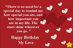 This page contains Romantic Happy Birthday Quotes for My Love. We provided here heart, flowers, love birds, birthday cap and balloons images with quotes. Happy Birthday Love Quotes, Birthday Wishes For Lover, Birthday Wishes Quotes, Happy Birthday Cards, Love Quotes For Girlfriend, Love Me Quotes, Love Yourself Quotes, 7th Birthday Party Ideas, Birthday Star