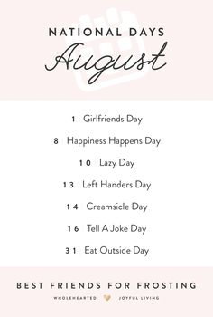appetizers for party National Days In August, National Celebration Days, Monthly Celebration, National Girlfriend Day, National Best Friend Day, Friends Day Quotes, Best Friends, Silly Holidays, Obscure Holidays