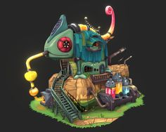 Chameleon House by Jasmin Habezai-Fekri Environment Concept Art, Environment Design, Game Environment, Animated Frog, Cartoon Building, Small Frog, Isometric Art, Game Character Design, 3d Character