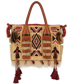 Dsquared² Sac Twin Peaks Eskimo Chic, pompons, folk, hippie