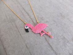 Collier pink flamingo en perles japonaises Miyuki : Collier par my-french-touch